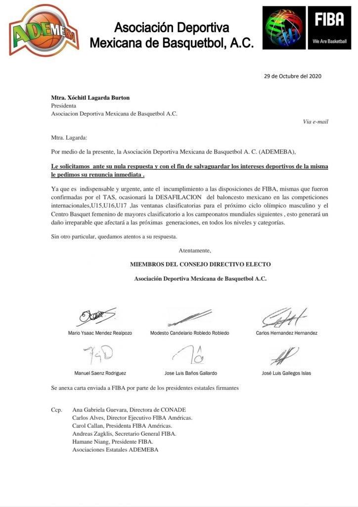 Carta renuncia Xochitil Lagarda
